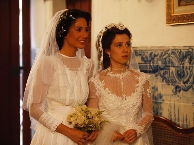 """Em """"Lado a Lado"""", vestidas de noivas, Laura e Isabel se tornam melhores amigas (11/9/12)"""