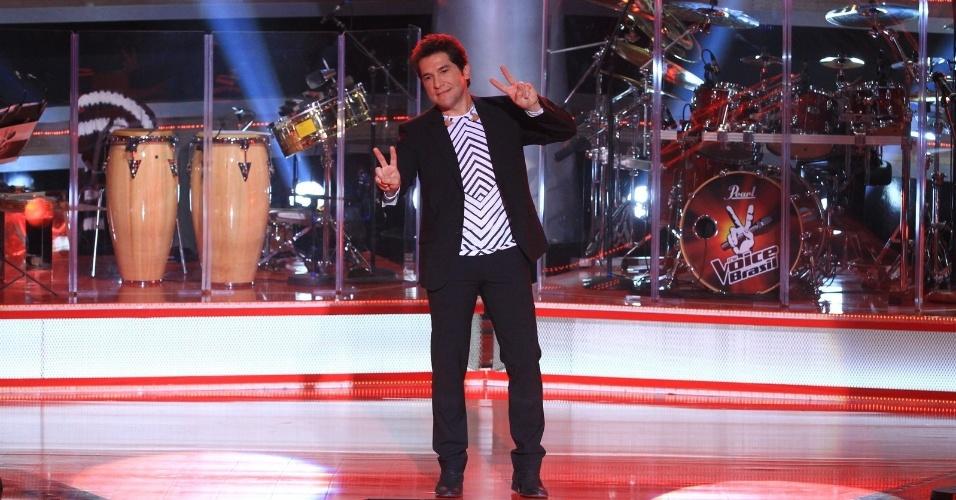 """O cantor Daniel, um dos jurados do show, na apresentação do """"The Voice Brasil"""" para a imprensa (18/9/12)"""