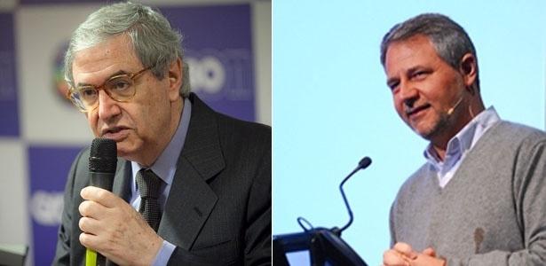 Octávio Florisbal (esq.) que deixará o cargo de diretor geral da Globo para Carlos Henrique Schroder (dir.) assumir