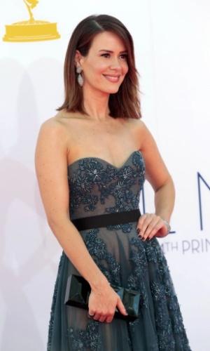 """A atriz Sarah Paulson, de """"Game Change"""", chega à 64ª edição do Emmy Awards, em Los Angeles, nos EUA (23/9/12)"""