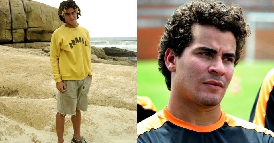 """Ainda adolescente, Thiago Martins interpretou o surfista Sal em """"Da Cor do Pecado""""; atualmente ele vive o jogador de futebol Leandro em """"Avenida Brasil"""""""