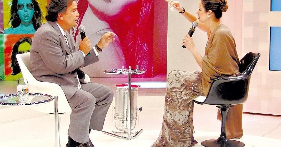 """Luciana Gimenez observa vidro com larvas do mosquito que transmite a dengue em entrevista com o ministro José GomesTemporão, no programa """"SuperPop"""" (2008)"""