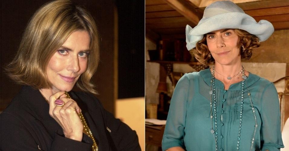 """Maitê Proença interpretou a socialite falida Verinha; atualmente com um visual diferente a atriz deu vida a Sinhazinha no remake """"Gabriela"""""""
