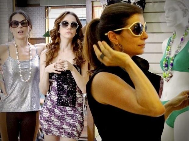 """Em """"Avenida Brasil"""",  Alexia, Noêmia e Verônica compram roupas na loja de Diógenes e não pagam (25/9/12)"""