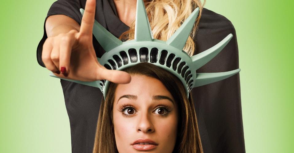 """A atriz Kate Hudson aparece em cartaz da quarta temporada de """"Glee"""" ao lado de Rachel (Lea Michele). Kate participará de seis episódios da história. O quarto ano estreia no dia 14 de novembro na Fox, às 22h15"""