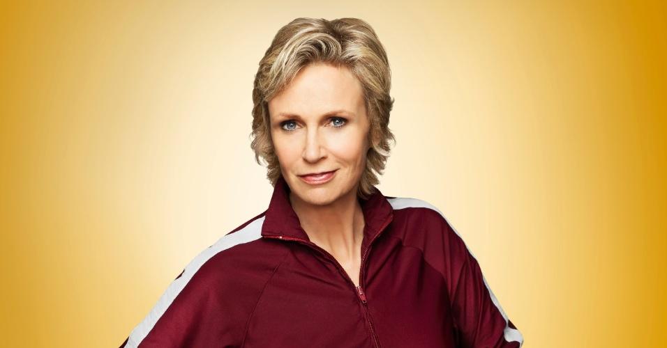 """A personagem Sue Silverster (Jane Lynch) em cartaz da quarta temporada de """"Glee"""""""