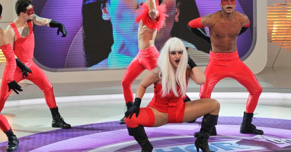 """Kelly Key se apresenta no programa """"O Melhor do Brasil"""" que vai ao ar no dia 20 de outubro. A cantora imitou Lady Gaga no quadro """"Dança Gatinho"""" (10/10/2012)"""