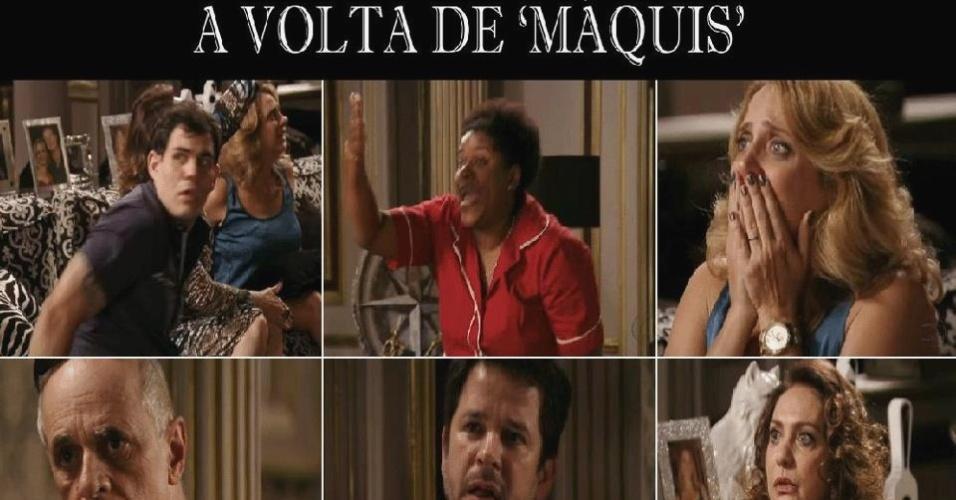 O meme se refere a cena em que Max (Marcello Novaes) aparece na mansão depois de todos acharem que ele havia morrido