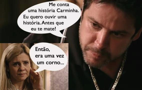 O meme faz referência a cena em que Tufão (Murilo Benício) pede para Carminha (Adriana Esteves) confessar que ela era amante de Max