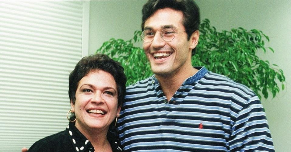 A atriz Regina Dourado e o ator Luciano Szafir (14/12/1997)