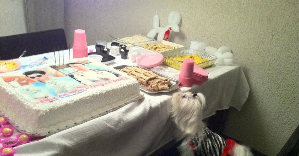 Emily festeja dois anos de vida com bolo e mesa de doces para cachorro