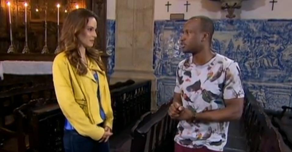 O cantor Thiaguinho é entrevistado por Ana Furtado no programa