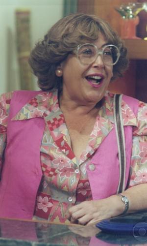 """Marilu Bueno caracterizada como a personagem Tia Pupu, da novela """"Quatro Por Quatro"""", da Globo (1994)"""