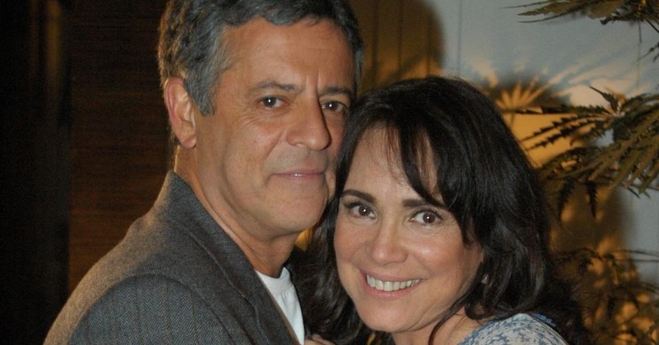 Marcos Paulo e Regina Duarte durante as gravações de
