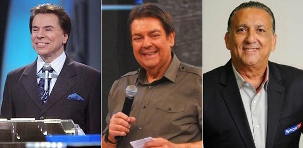 Da esquerda para a direita, Silvio Santos, Fausto Silva e Galvão Bueno