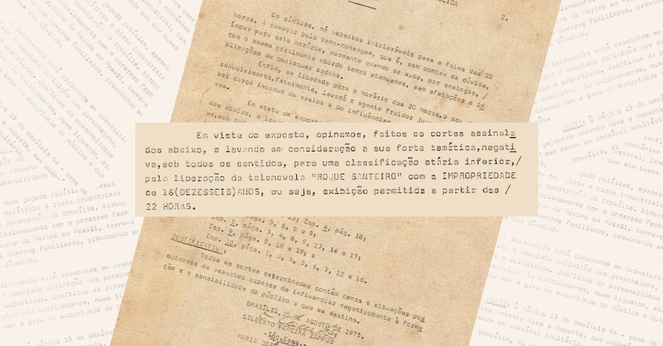 "Após avaliar os dez primeiros capítulos de ""Roque Santeiro"" (1975), censura reclassifica a novela para as 22h"