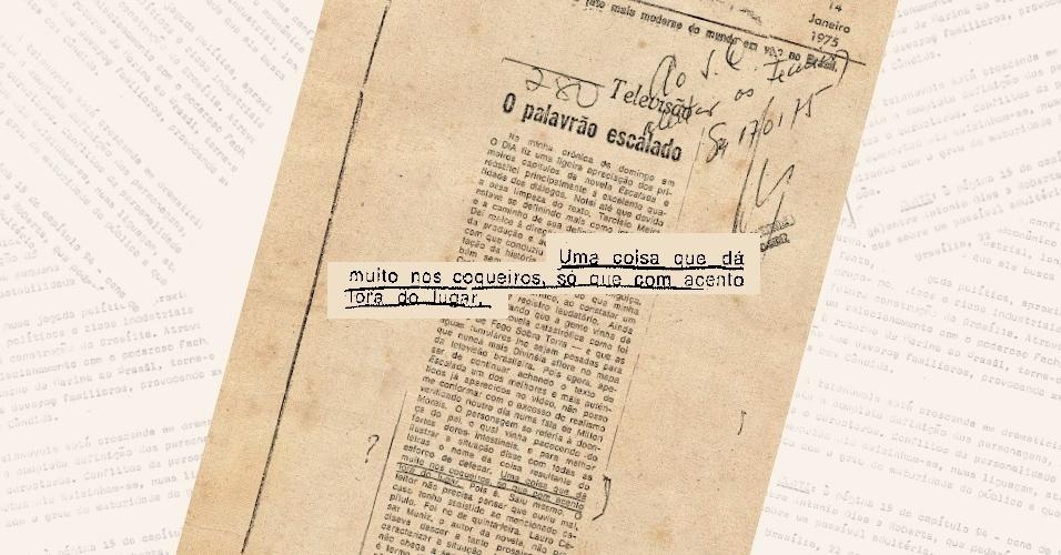 """Artigo de jornal faz """"denúncia"""" aos censores sobre o uso do """"palavrão"""" cocô por um dos personagens de """"Escalada"""""""