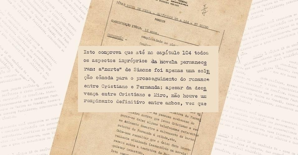 """Censores demonstram insatisfação com o romance de Cristiano (Francisco Cuoco) e Fernanda (Dina Sfat) em """"Selva de Pedra"""" (1972) por considerarem-nos bígamos"""
