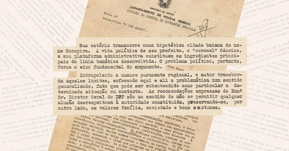 """Censores identificam em """"O Bem Amado"""" crítica às autoridades militares e desrespeito à moral vigente"""