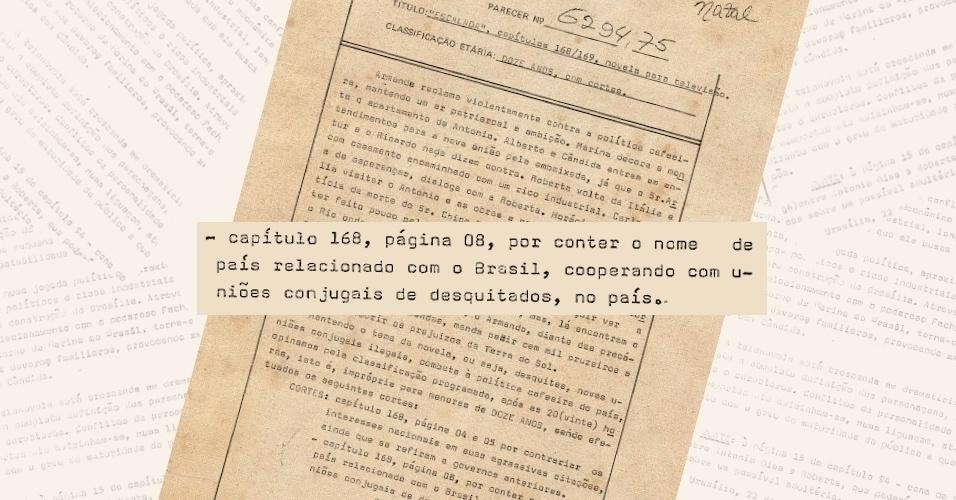 """Censores pedem a supressão do nome do Uruguai na novela """"Escalada""""; a novela tratava do divórcio, ainda não legalizado no Brasil, e mostrava o Uruguai como um lugar onde essa prática já era permitida"""