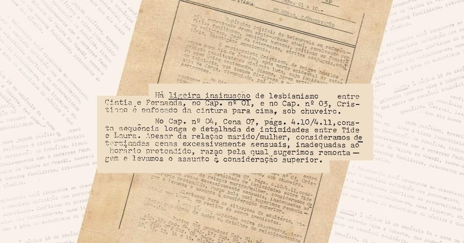 """Censores pedem corte de cenas de banho e em outra com """"insinuação de lesbianismo"""" em """"Selva de Pedra"""" (1972)"""