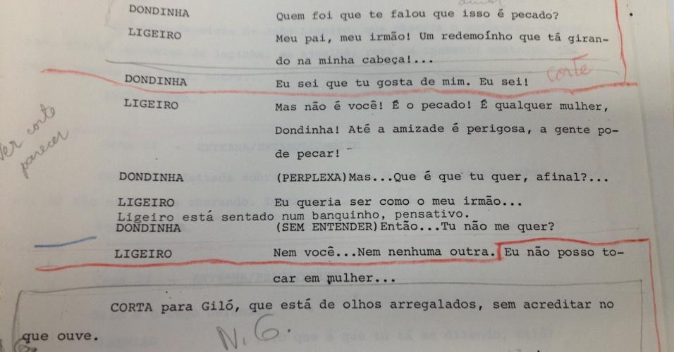 """Censores pedem corte em diálogo da novela """"Roque Santeiro"""" (1985) em que há insinuação de homossexualidade do personagem João Ligeiro (Maurício Mattar)"""