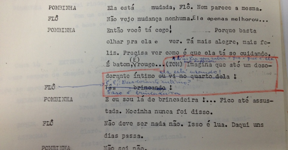 """Censores pedem corte em diálogo da novela """"Roque Santeiro"""" (1985) em que Pombinha (Eloísa Mafalda) conta ao marido que sua filha Mocinha (Lucinha Lins) estava usando desodorante íntimo"""