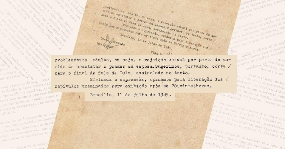 """Censura pede corte de cena em que Zé das Medalhas (Armando Bogus) se constrange com o fato de sua mulher ter alcançado o orgasmo na novela """"Roque Santeiro"""" (1985)"""
