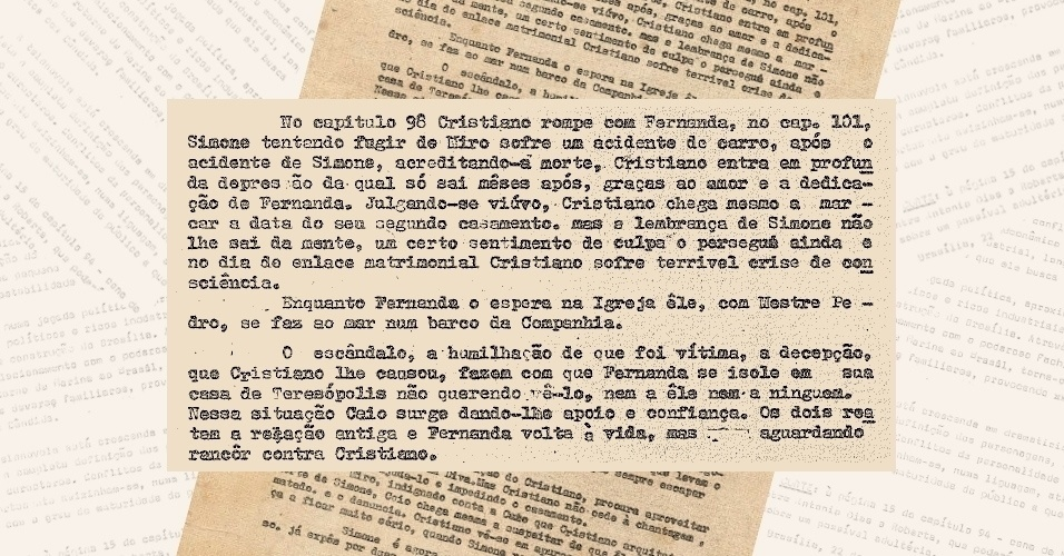 "Globo apresenta aos censores a nova sinopse de ""Selva de Pedra"" (1972) e garante que o romance entre Cristiano (Francisco Cuoco) e Fernanda (Dina Sfat) terminou"