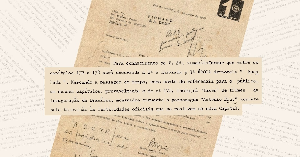 """Globo informa aos censores que usaria imagens da inauguração de Brasília, tema da novela """"Escalada""""; DCDP vetou para não fazer apologia ao presidente Juscelino Kubitschek, perseguido pelos militares"""