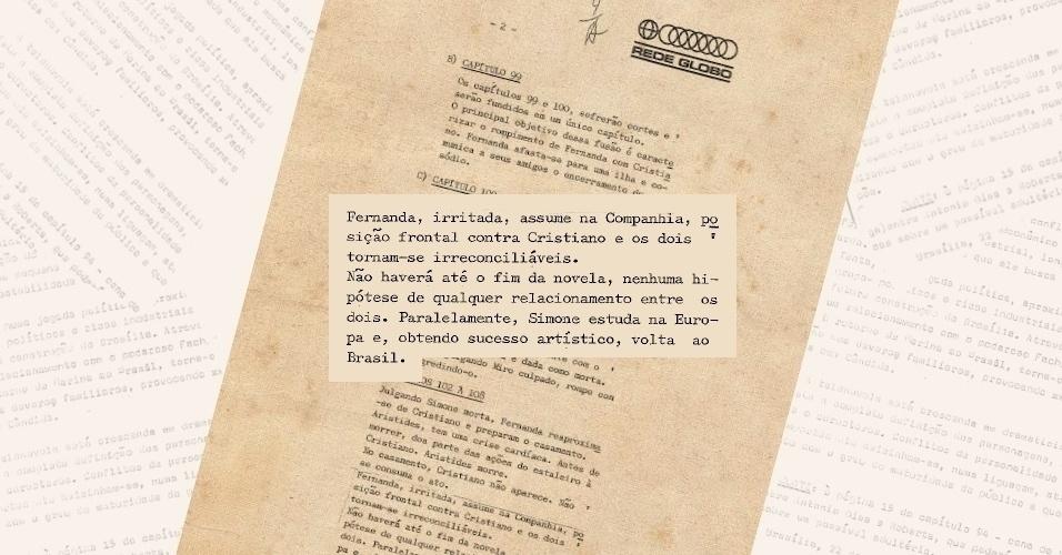 """Globo reforça em ofício à censura que o relacionamento de Cristiano (Francisco Cuoco) e Fernanda (Dina Sfat) se tornará inconciliável até o fim de """"Selva de Pedra"""" (1972)"""