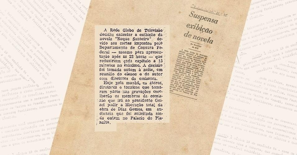 """Nota no jornal """"O Estado de S.Paulo"""" informa a proibição da censura à novela """"Roque Santeiro"""" em 1975"""