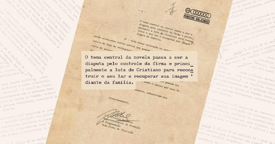 """Ofício assinado por Boni informa aos censores que a temática de """"Selva de Pedra"""" (1972) mudou totalmente"""