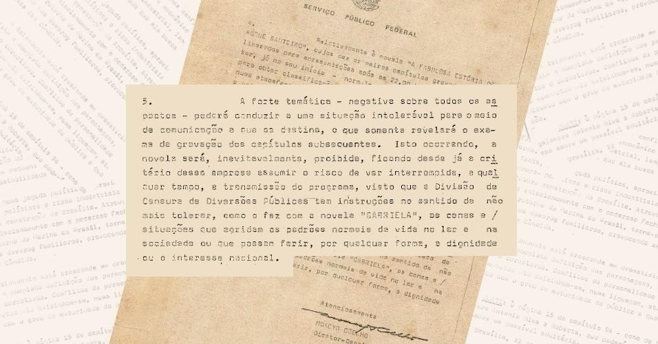 """Ofício da censura avisa a Rede Globo que a exibição de """"Roque Santeiro"""" (1975) poderá ser interrompida a qualquer momento"""