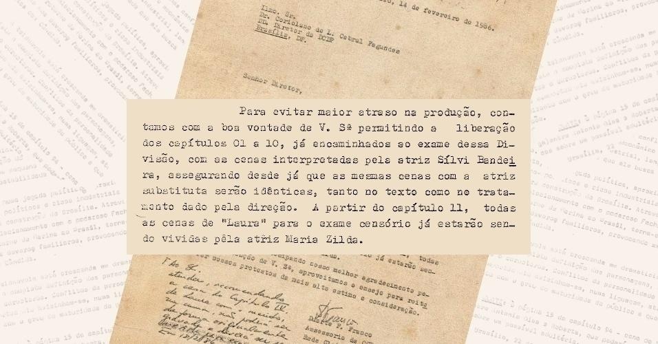 """Ofício da Globo comunicando aos censores a mudança de atrizes na versão de 1986 de """"Selva de Pedra"""""""