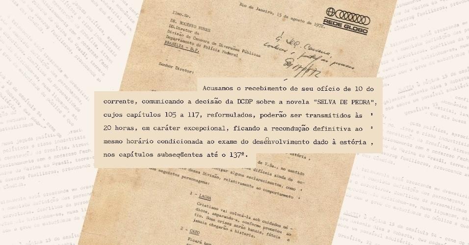 """Ofício da Globo informa ter modificado sinopse da trama e de personagens de """"Selva de Pedra"""" (1972) para retorno definitivo para o horário das 20h"""