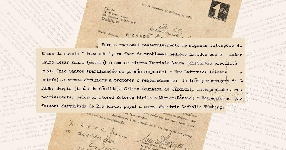"""Rede Globo informa ao DCDP o afastamento de atores da novela """"Escalada"""" por problemas de saúde e a entrada de novos personagens para substituir as ausências"""