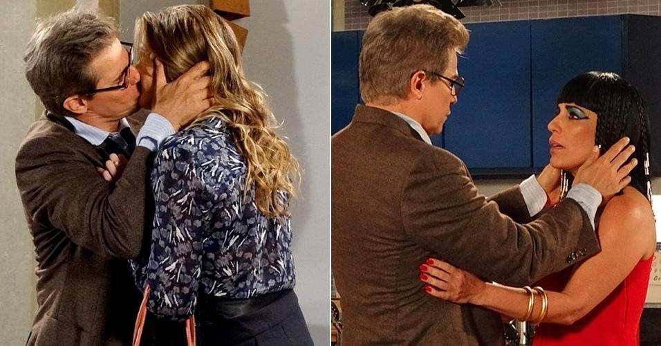 """Em """"Guerra dos Sexos"""", Felipe beija Vânia, mas pensa em Roberta"""