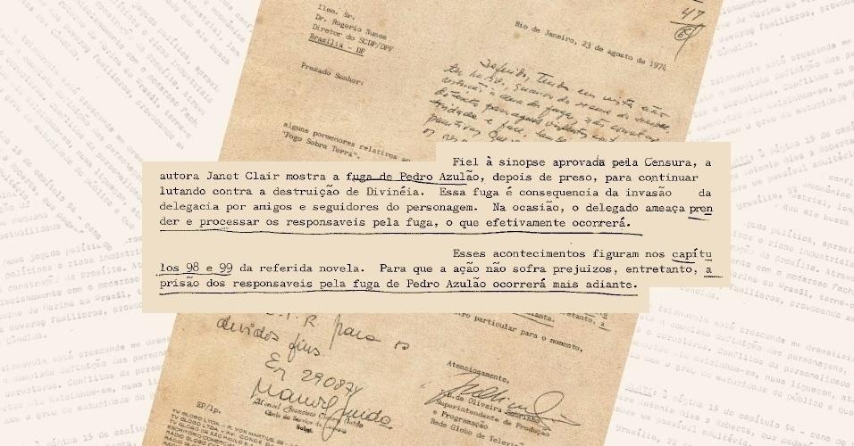 """Censores exigem que responsáveis pela fuga de Pedro Azulão (Juca de Oliveira) sejam presos na novela """"Fogo Sobre Terra""""; militares não queriam que a polícia fosse retratada como ineficiente"""