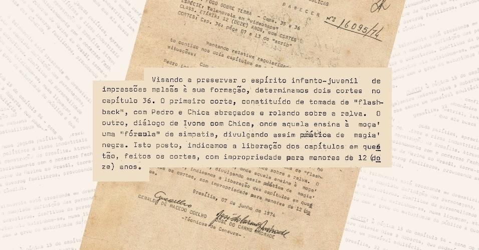 """Censores exigem veto a cenas de amor entre Pedro Azulão (Juca de Oliveira) e Chica (Dina Sfat), da novela """"Fogo Sobre Terra"""", além de uma cena sobre simpatia, que consideravam um incentivo ao misticismo"""