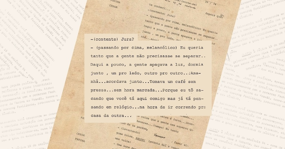 """Censores pedem corte de diálogo entre as personagens Maria de Fátima (Glória Pires) e César (Carlos Alberto Ricellii), de """"Vale Tudo"""", porque ambos conversavam na cama, seminus, após o sexo"""