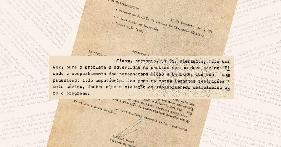 """Censura ameaça reclassificar """"Fogo Sobre Terra"""" caso a autora Janete Clair não mudasse o comportamento dos personagens Bárbara (Regina Duarte) e Diogo (Jardel Filho)"""