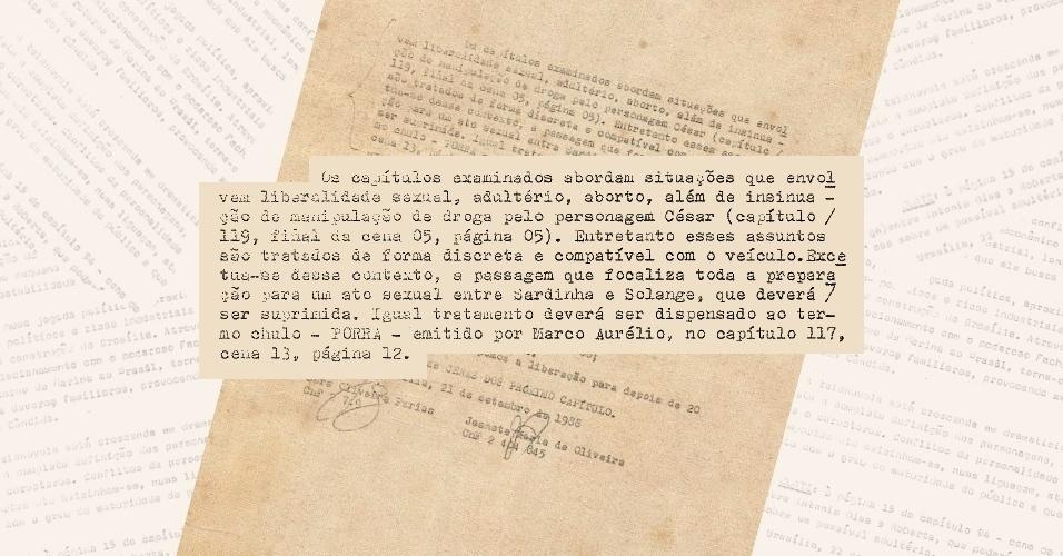 """Neste documento do DCDP, censores afirmam ter liberado cena em que o personagem César (Carlos Alberto Ricelli), de """"Vale Tudo"""" manipula maconha (18/12/2012)"""