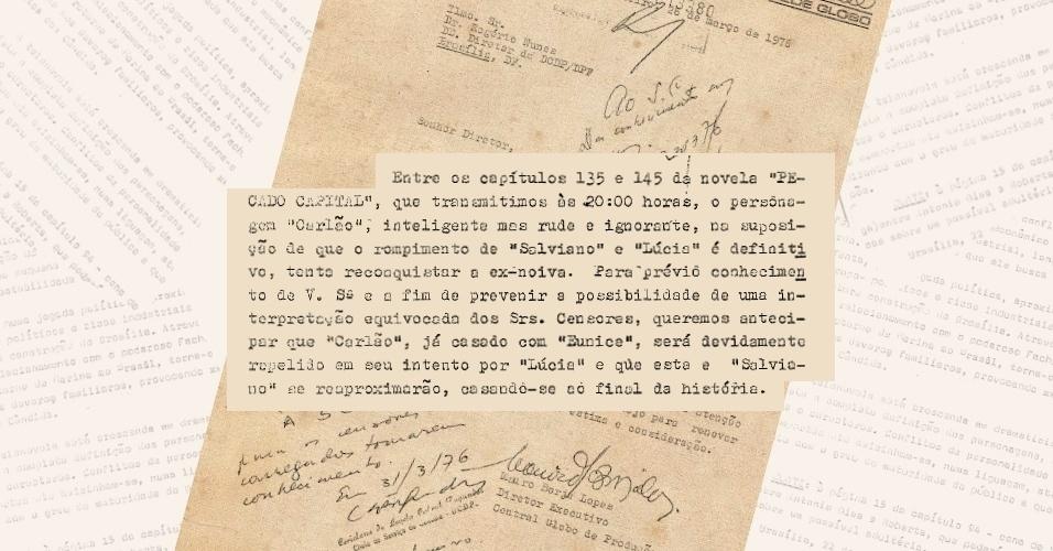 """Globo avisa aos censores que as investidas de Carlão (Francisco Cuoco) em Lucinha (Betty Faria) serão repelidas, já que o protagonista de """"Pecado Capital"""" (1975) é casado"""