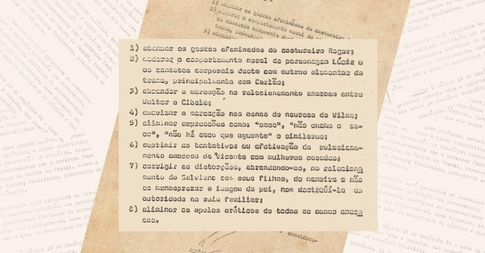"""Lista de pedidos de cortes nos roteiros da novela """"Pecado Capital"""" (1975)"""