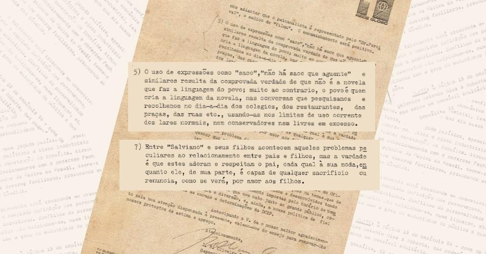 """No mesmo ofício, emissora justifica o uso de expressões orais populares na novela """"Pecado Capital"""" (1975)"""