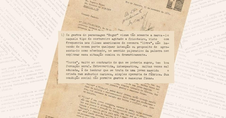 """Ofício da Globo explica aos censores de onde vêm os gestos dos personagens Roger (Nestor de Montemar) e Lúcia (Betty Faria) na novela """"Pecado Capital"""" (1975)"""
