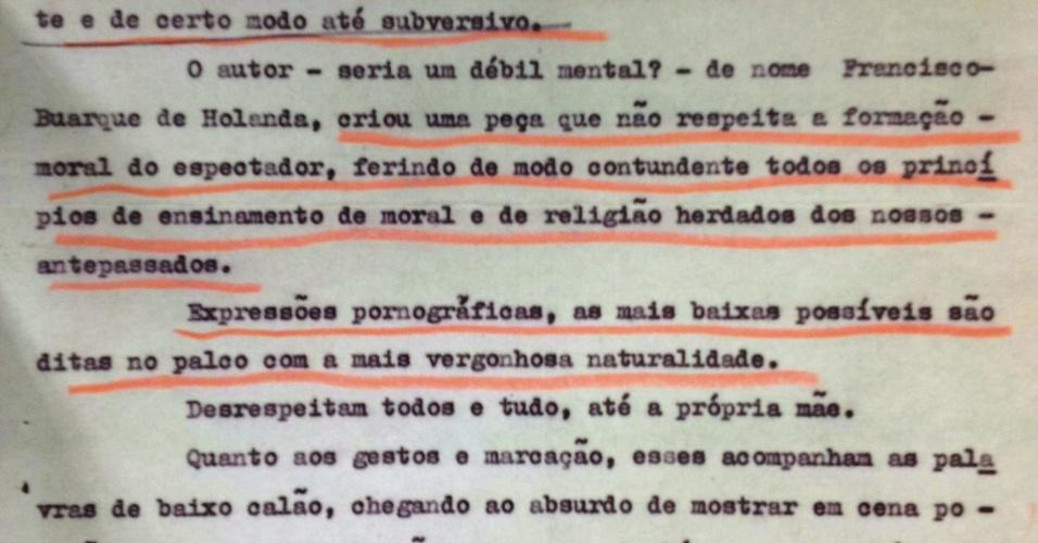 """Parecer da censura sobre a peça """"Roda Viva"""" de Chico Buarque foi ampliado e exposto na sala de pesquisa do Arquivo Nacional; documento chama o artista de """"débil mental"""""""