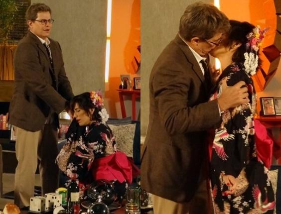 """25.jan.2013 - Em """"Guerra dos Sexos"""", Felipe imagina que Roberta é gueixa e a beija na boca"""