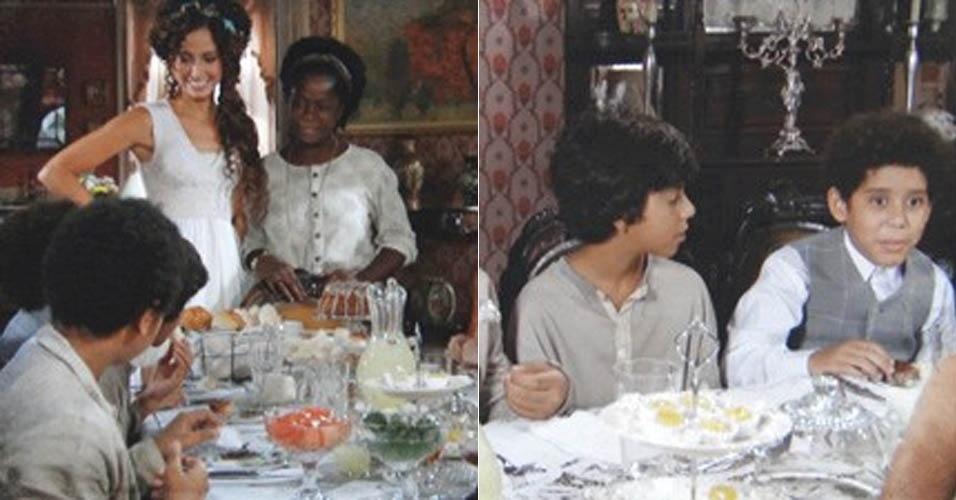 """30.jan.2013 - Em """"Lado a Lado"""", Isabel recebe os amiguinhos de Elias em casa"""